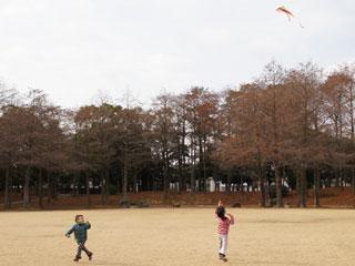 広場で凧揚げするき子供達
