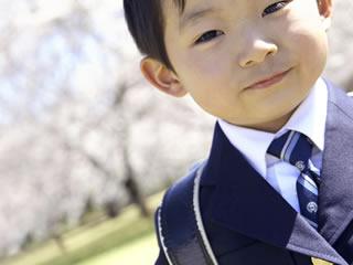 桜の木下で記念撮影する小学生に入学した男の子