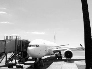 搭乗ゲートに接続した飛行機