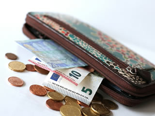 小銭やお札が入った海外の高級財布