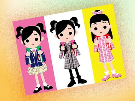 小学生女子の3種の服装
