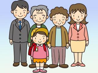 小学生と祖父母と父母