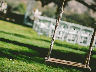 木製のブランコと芝生が生える天気の良い日の公園