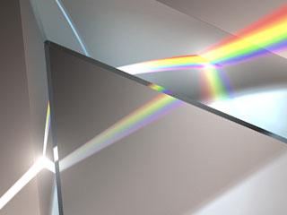 プリズムレンズを通る光