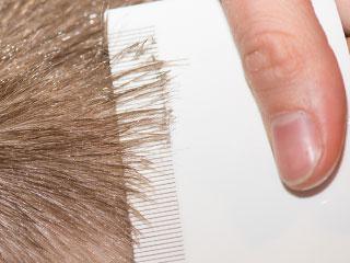 櫛で髪をとかす