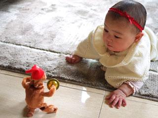玩具に向かってずりばいする赤ちゃん