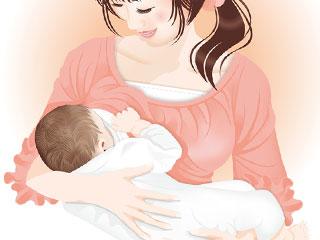 赤ちゃんに母乳を吸わせる母親