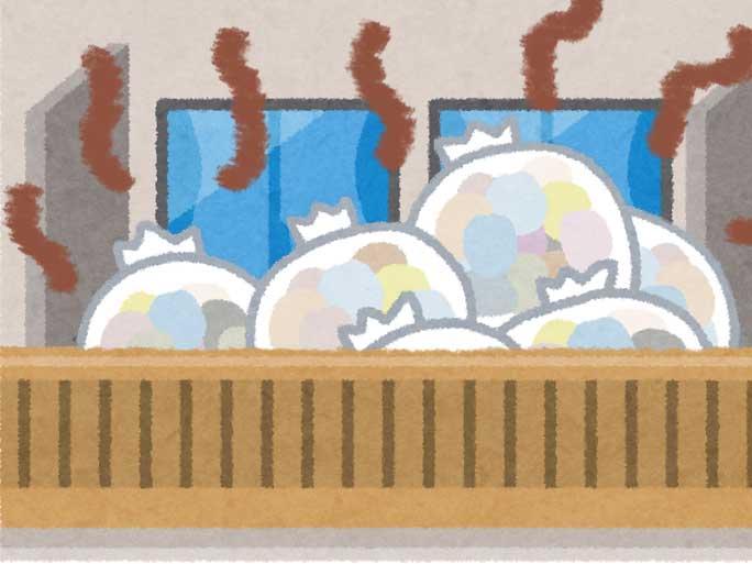 ベランダに大量にある使用済みオムツが入ったゴミ袋のイラスト