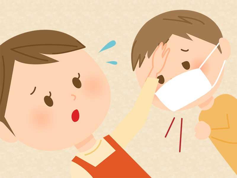 マスクをしている男の子のおでこを押さえている母親のイラスト