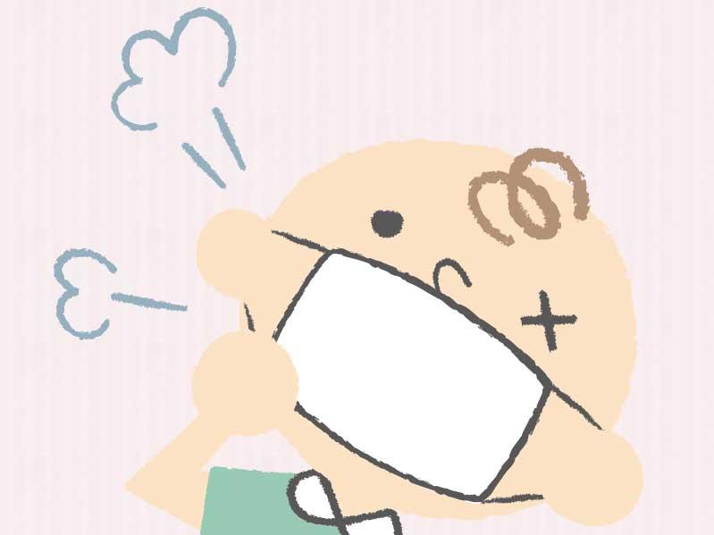 咳をしている男の子のイラスト