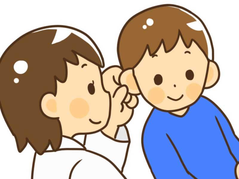 耳鼻科で耳の診断を受けている子供のイラスト