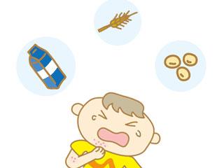 体を掻く子供と麦、大豆、牛乳