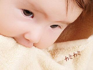 タオルを噛む赤ちゃん