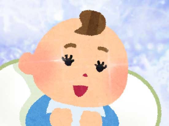 まつげがぱっちりしている新生児のイラスト