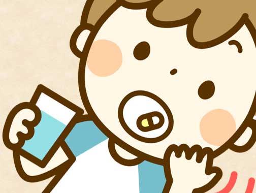 解熱剤を飲んでいる男の子のイラスト