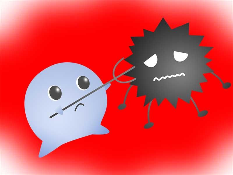 ウイルスを退治している免疫細胞のイラスト
