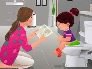 母親とトイレトレーニングする娘