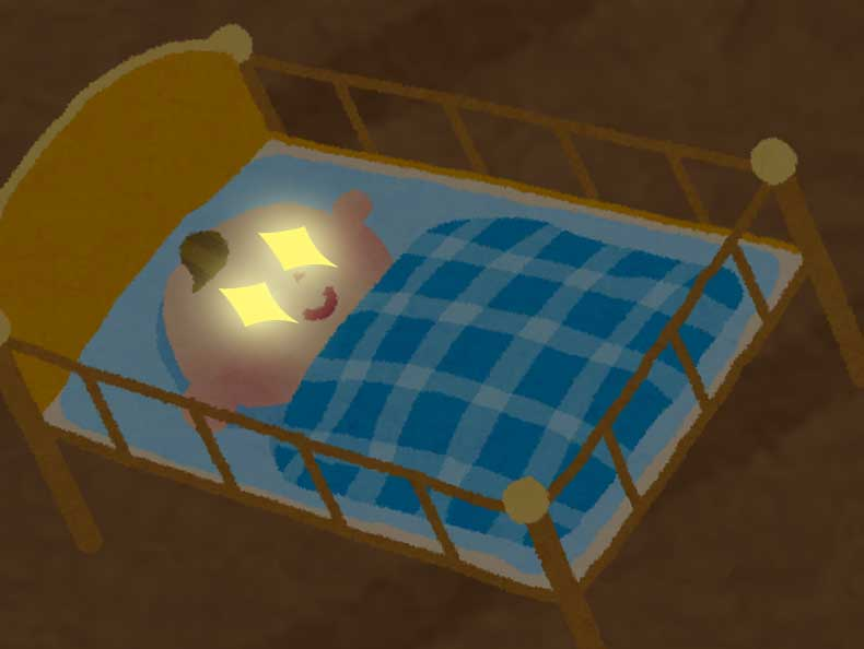 猫の目のように暗闇で眼が光っている新生児のイラスト