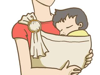 スリングで赤ちゃんを包み込んで抱く母親