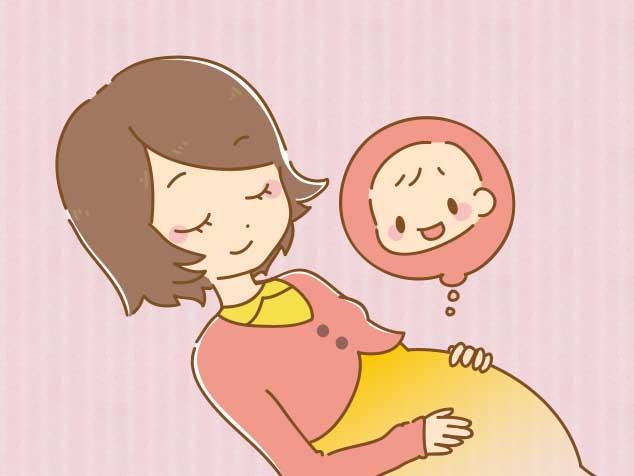 お腹に手をあてて赤ちゃんの胎動を感じているママのイラスト