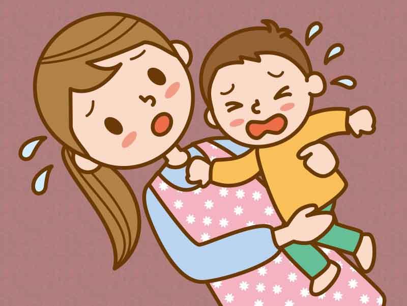 泣き叫ぶ3歳児を抱き上げているママのイラスト