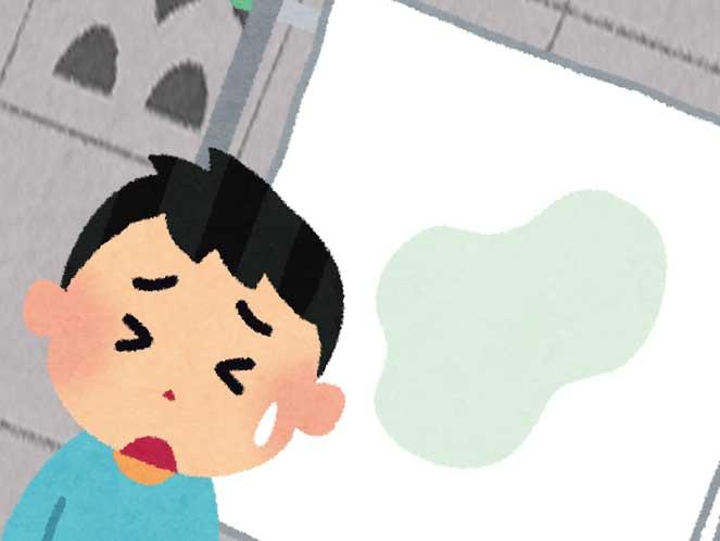 干されてるおねしょで濡れた布団と落ち込んでいる男の子のイラスト