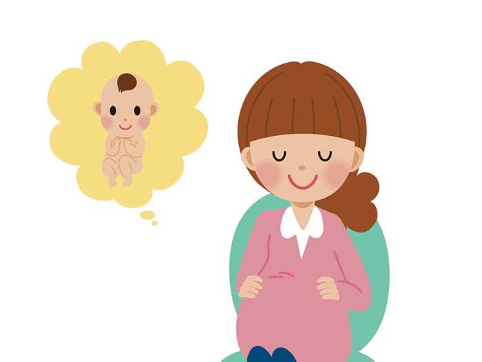 赤ちゃんを想像する妊婦