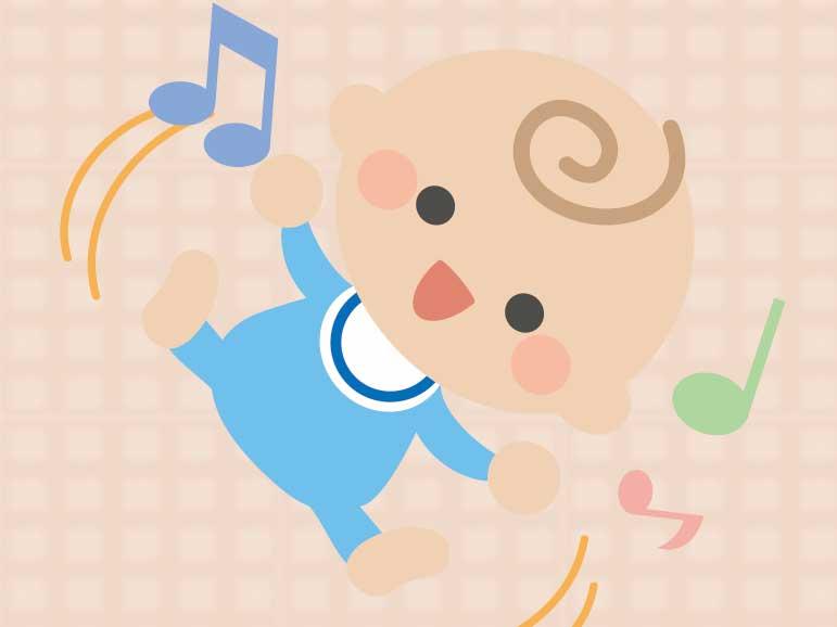 笑いながら手足をバタバタしている新生児のイラスト
