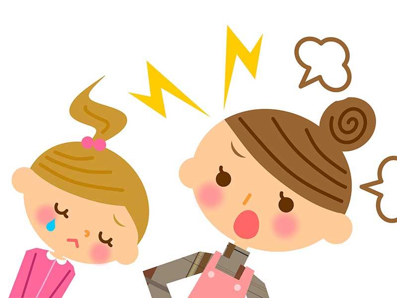 子供を叱っている母親のイラスト