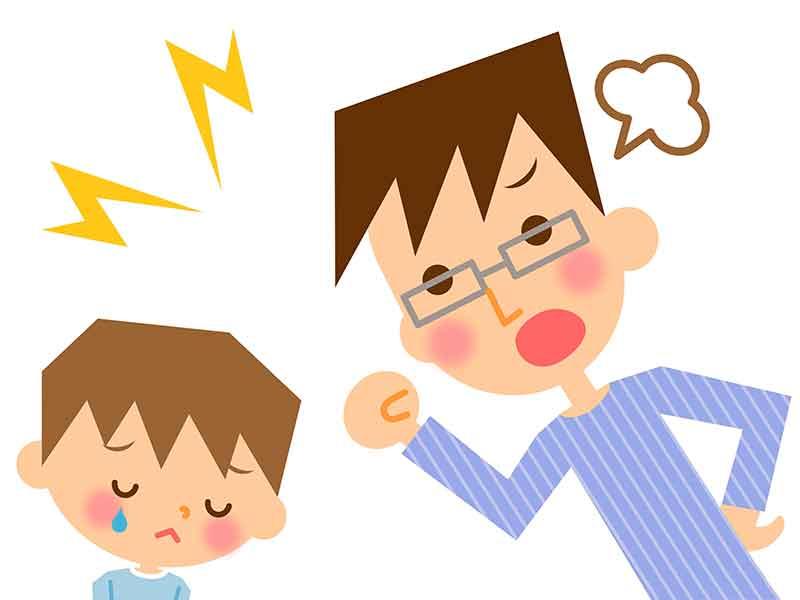 父親に叱られている男の子のイラスト