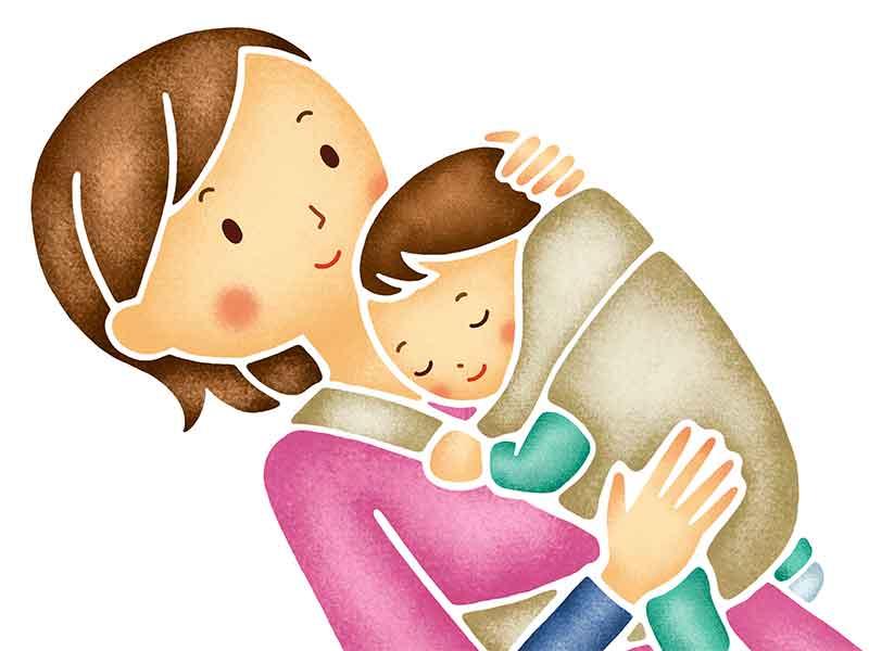 ベビーキャリアでママに抱っこされながら寝てる赤ちゃんのイラスト