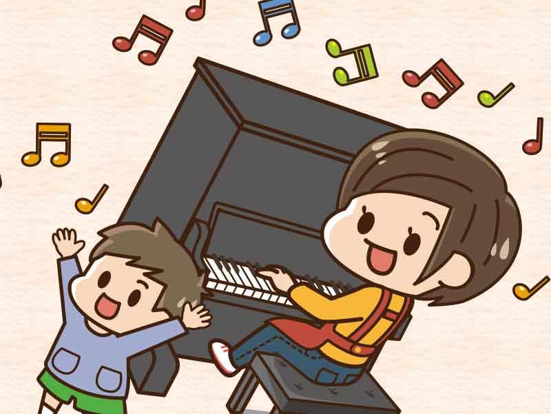 ママの弾くピアノを聞いて大喜びの男の子のイラスト