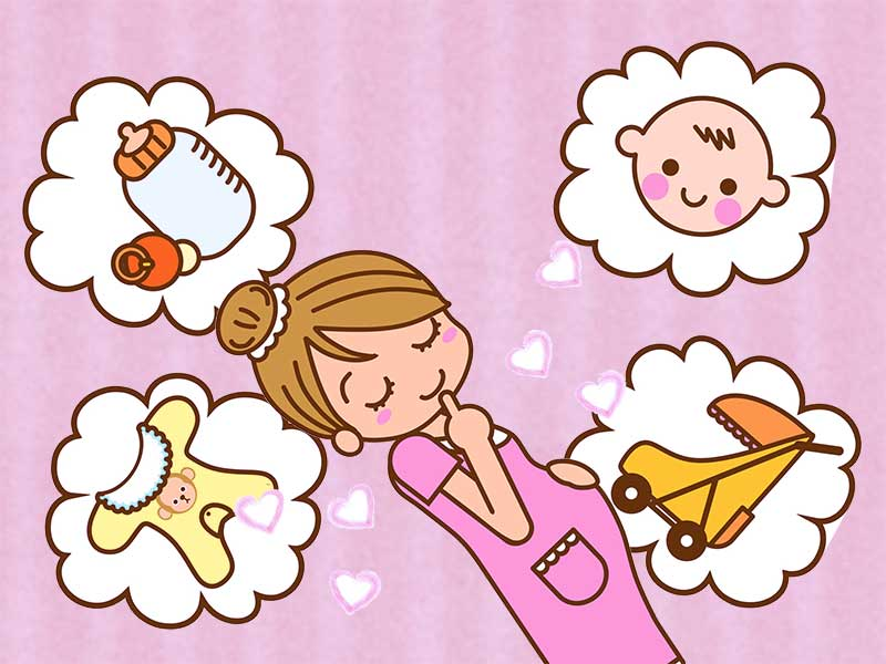 赤ちゃんのための哺乳瓶やベビーカーや肌着のことを考えてる妊婦さんのイラスト
