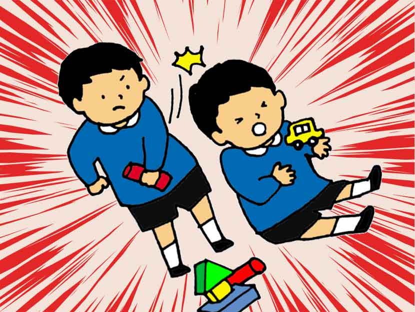 おもちゃで友達の頭を叩く幼稚園児のイラスト