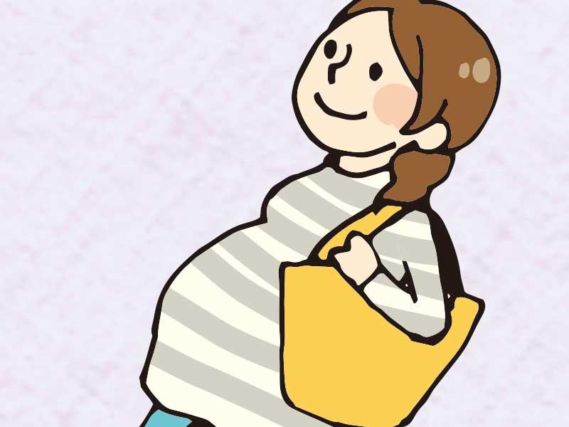 買い物にでかけてる妊婦さん