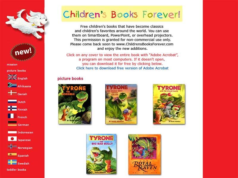 childrens books foreverサイト画面キャプチャ