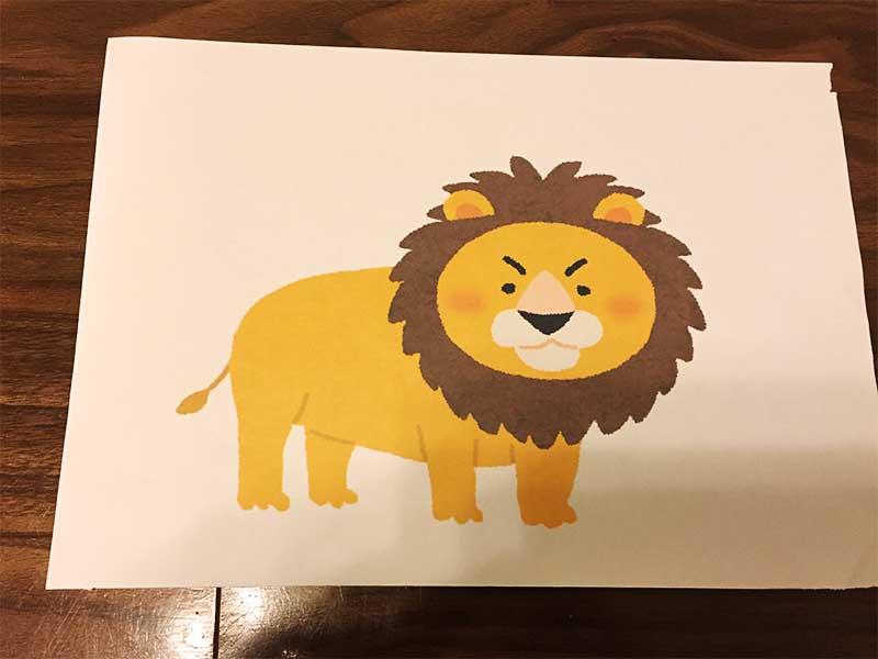 ライオンの絵がコピーされた紙