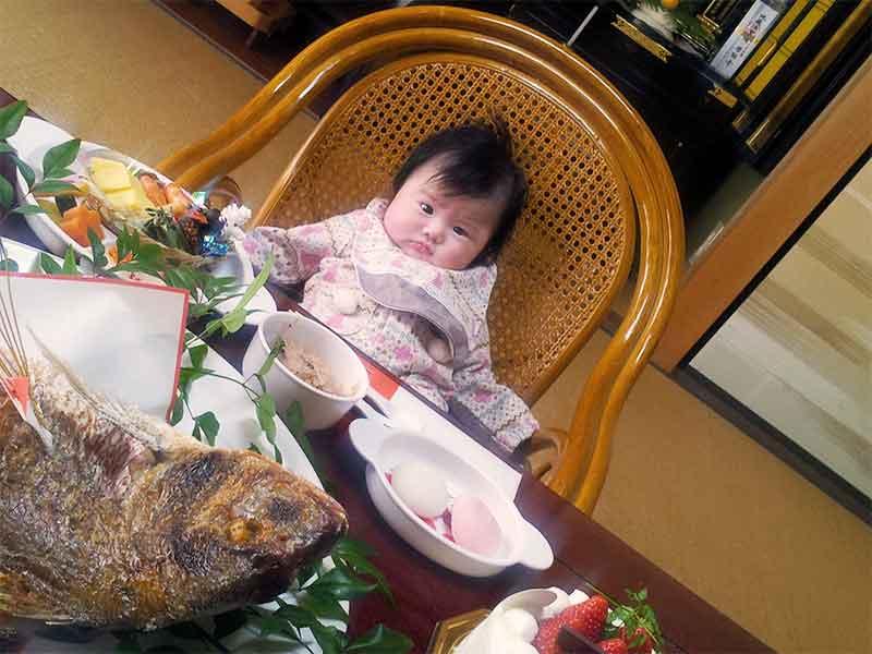 お食い初めで沢山の料理の前に座ってる赤ちゃん