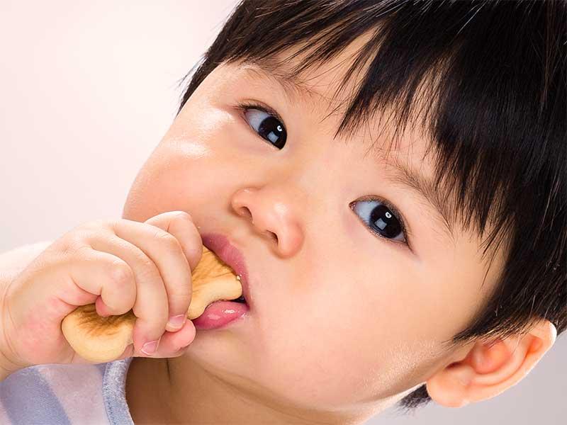 バナナクッキーを食べる赤ちゃん