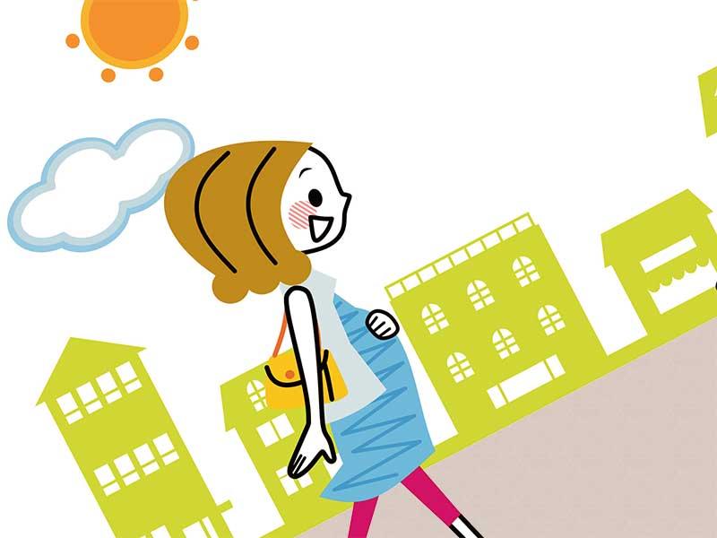 散歩してる妊婦さんのイラスト