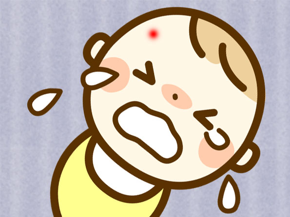虫に刺されておでこが赤くなってて泣いてる赤ちゃんのイラスト