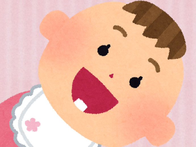 1本だけ歯が生えた赤ちゃんのイラスト