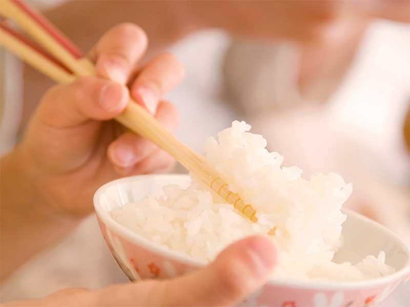 左手で箸を持ってご飯を食べてる女の子