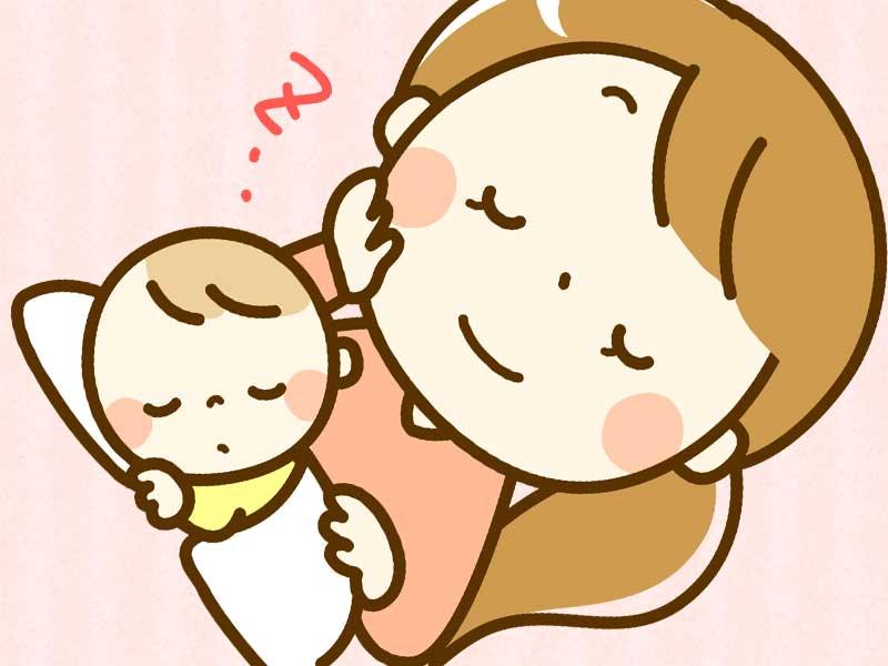 母親に見守られながら1人で寝てる赤ちゃんのイラスト