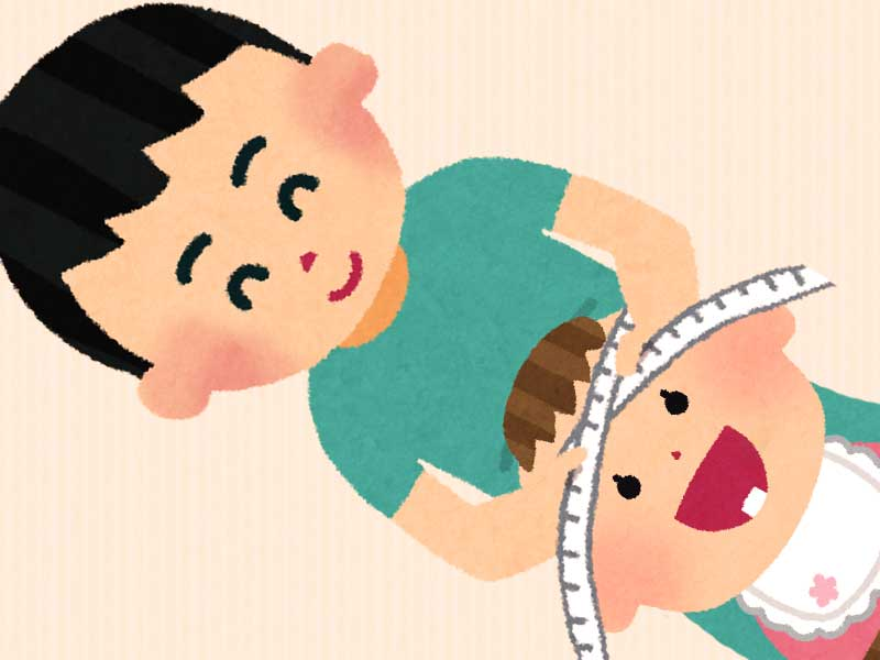 赤ちゃんの頭囲を測ってるパパのイラスト