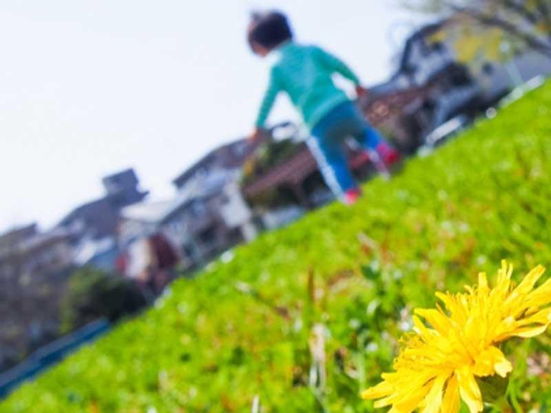 公園で走っている子供