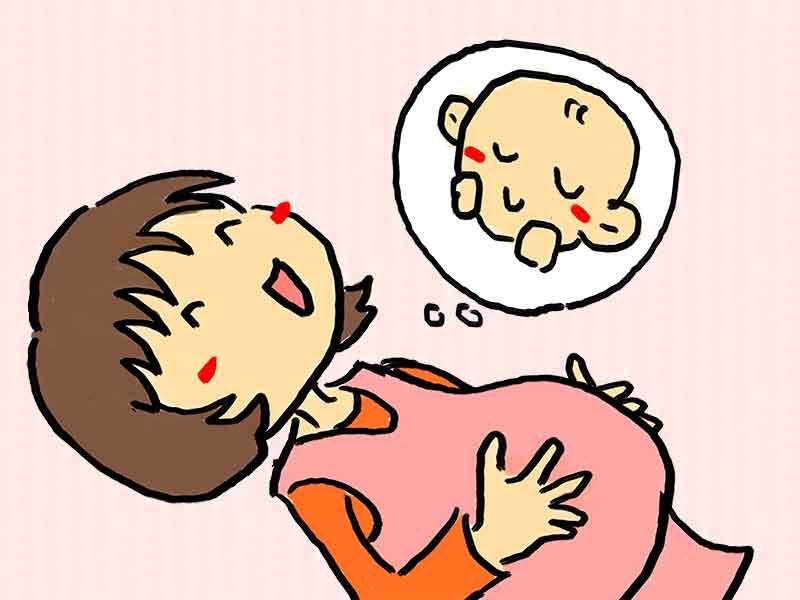 赤ちゃんのことを想像してる妊婦さんのイラスト