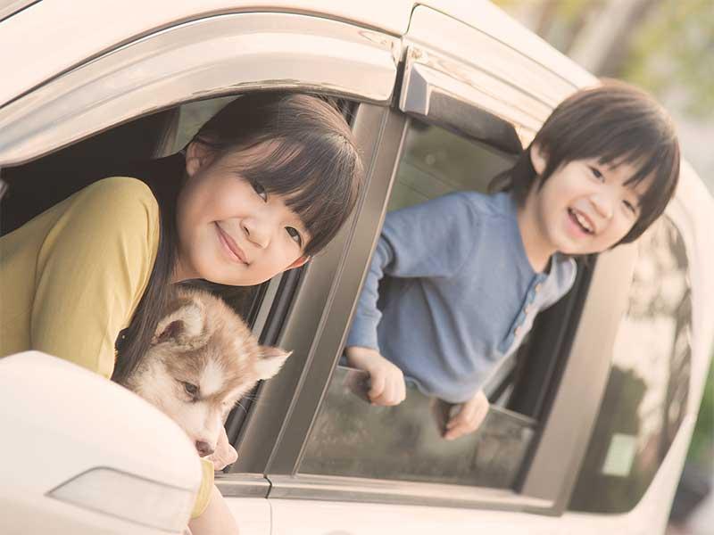 ドライブ中の子供たち