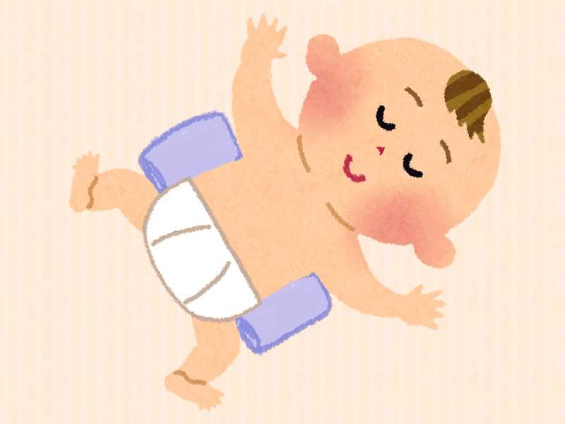 バスタオルを使った赤ちゃんの寝返り防止グッズのイラスト