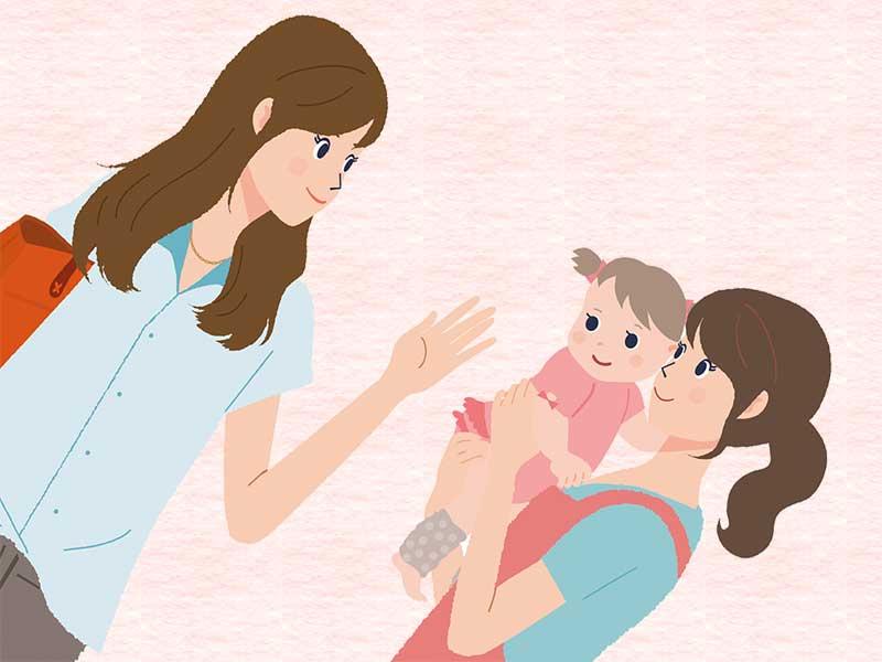 保育園の先生に子供を預けてるママ